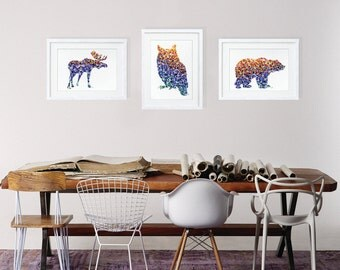 Moose, Owl and Bear - Watercolor Prints, Set of 3 - Reproduction Watercolor Painting Geometric Animal Silhouette Art - Wall Decor Home Decor