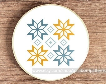 Scandinavian Summer ornament 2 - Counted cross stitch pattern PDF - Geometric - Tribal