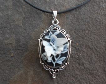 Choose Setting - Stunning White Butterfly on Black Cameo Pendant Necklace--- Great Quality--- Unique Piece