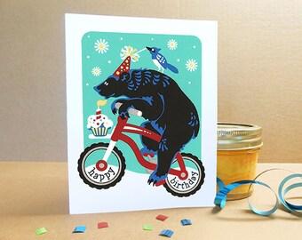 Mountain Bike Birthday Bear Card Hand Silkscreened Screen Printed