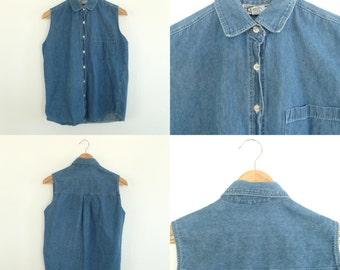 Vintage Sleeveless Button Up Denim Shirt Women's Small