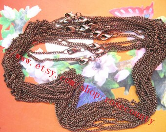 Wholesale 100pcs 18 inch Antiqued Copper 3x2mm cable chain necklace with lobster clasps--very strong