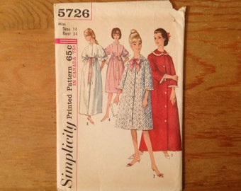 Women's robe Simplicity 5726 pattern, misses' size 14, bust 34, bathrobe, lingerie, housecoat, empire waist robe, FF, vintage OOP, 1964