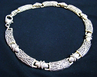 Vintage massive silver necklace in Egyptian style/ oriental-style necklace/Ethnic Necklace