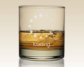 Net Neutrality LOADING Personalized Old Fashioned Lowball Tumbler with Optional Monogram in Center of Design (Each)