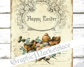 Happy Easter Birds Nest Happy Easter Instant Download Vintage Transfer Fabric digital collage sheet printable No. 918