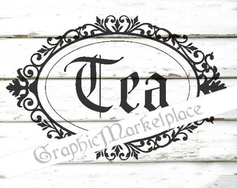 Tea Canister Label Frame Instant Download Shabby Transfer Burlap digital collage sheet  graphic printable No. 233