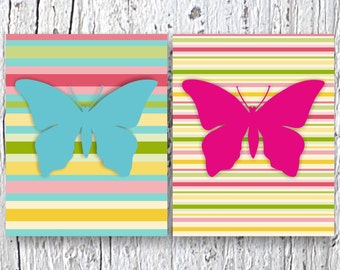 "Butterfly Wall Print,Kids Art Print Kids Wall Decor, Nursery Wall Art Set of 2 Prints 8"" x 10"", Kids Wall Art, Nursery Wall Decor"