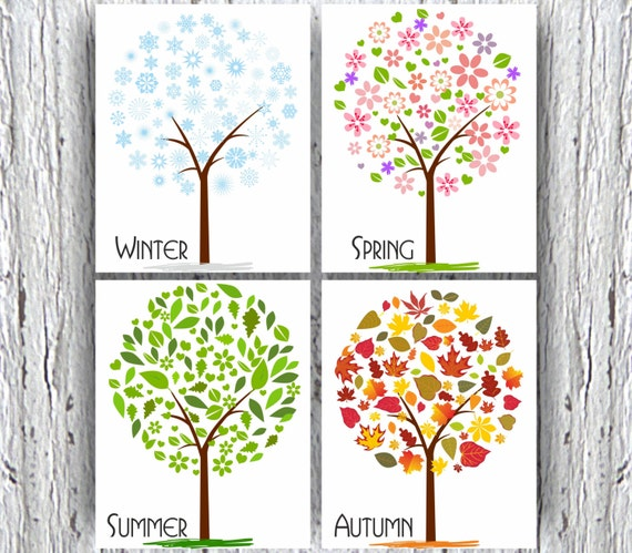 Four seasons of trees kids wall decor nursery wall print for 4 seasons decoration