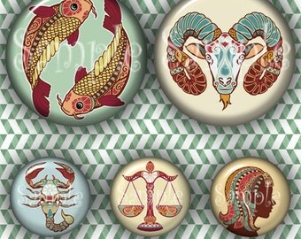 Etnic Zodiac (143) Digital Collage Sheet 4x6 bottle cap images .. Bottlecap glass tiles ..