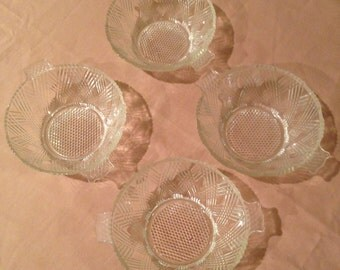 FOUR Vintage Clear Glass Berry Bowl with Closed Handles