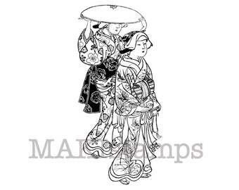 Geishas taking a walk / Unmounted rubber stamp / Japanese rubber stamp (130202)