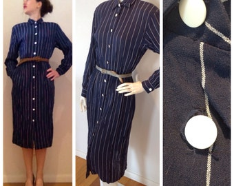 Vintage // NAVY dress with white vertical stripes // button down // office outfit // size small //