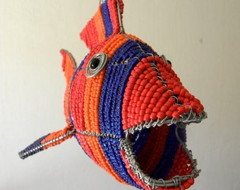 African Beaded Wire Animal  - FISH - Striped