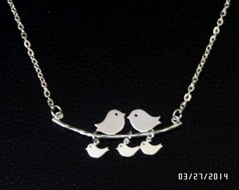 Family bird necklace, Bird on branch necklace, charm necklace for mom, sister,grandma, Love bird necklace, Affordable Mothers day gift,
