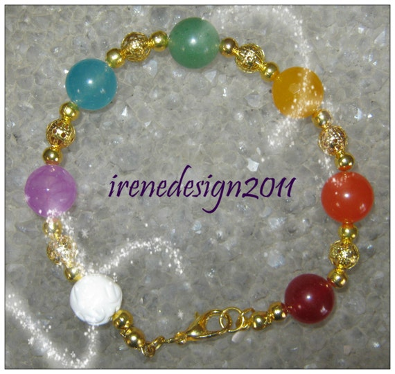 Beautiful Handmade Gold Chakra Bracelet with 7 Gemstones
