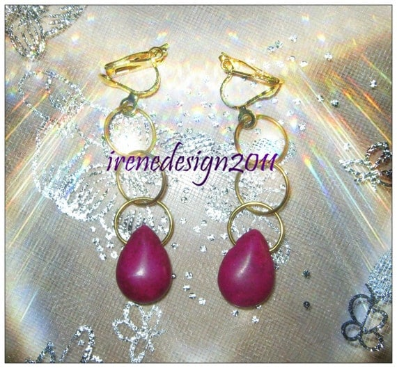 Handmade Gold Clip-On Earrings with Purple Howlite Drops by IreneDesign2011