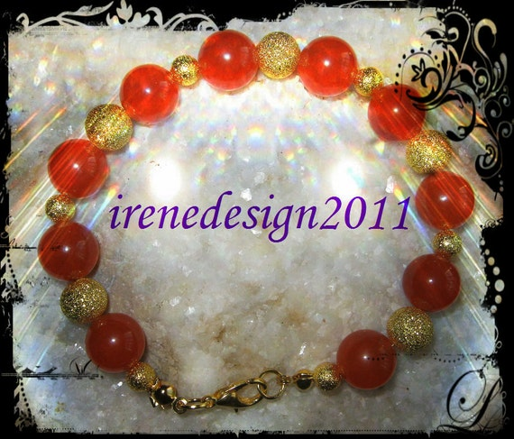 Handmade Gold Bracelet with Orange Topaz by IreneDesign2011