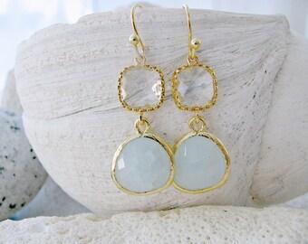 Alice Blue Earrings With Crystal Gemstones pastel blue earrings crystal earrings Alice Blue Jewelry Crystal jewelry beach Wedding Bridesmaid