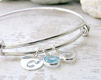 Personalized Initial Bangle & birthstones Aquamarine bangle birthstone bangle initial bangle letter March Birthstone Bridesmaid Gift initial