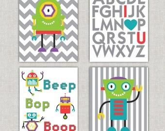 Set of 4 robot prints for nursery 11x14