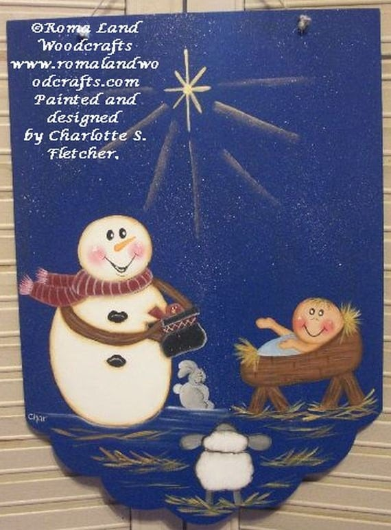 Snowman nativity baby jesus christmas decor tole painting for Baby jesus christmas decoration
