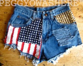 Vtg faded rag high waist Cut offs denim shorts Massive studs American Flag moto PEGGYOWASHERE design