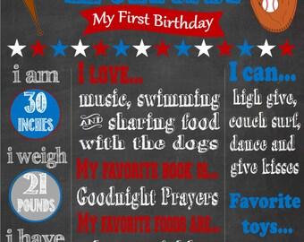 Baseball Themed First Birthday Chalkboard Poster-Baseball Birthday Party