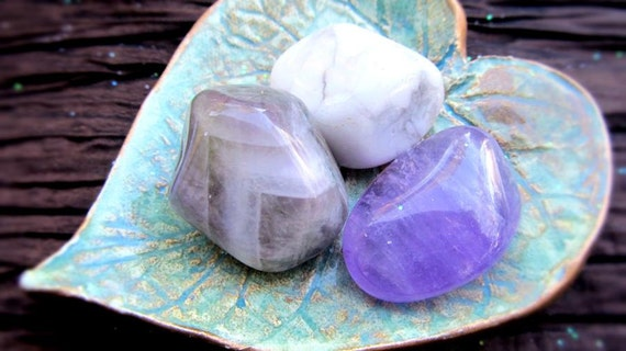 Amegreen, Howlite, Amethyst Healing Crystals, Inner Child, Heal Through Past Wounds, Love And Compassion