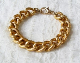 Gold Pave Bracelet. A Chunky Gold Chain Curb Bracelet. Retro and Stunning.