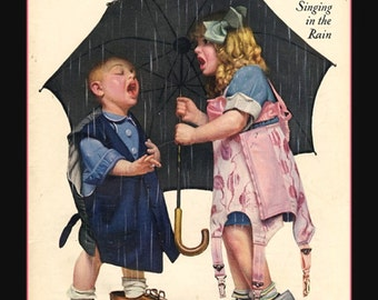 Liberty Magazine Cover, Two Children Singing in the Rain