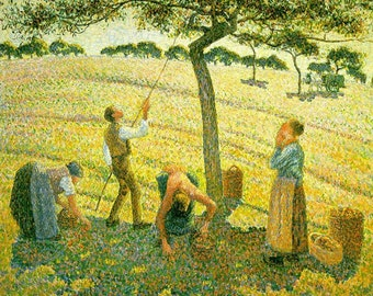 """11x14"""" Cotton Canvas Print, Camille Pissarro, Apple Picking at Eragny sur Epte, 1888, France, Landscape"""