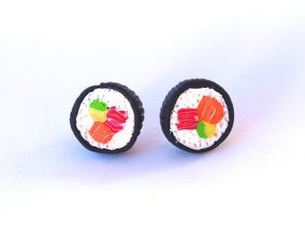 Miniature Food Sushi Earrings, Sushi Rolls Studs, Handmade Jewelry Earrings, Mini Food Jewelry, Sushi Lovers, Gift For Her