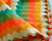 Mid Century Modern Afghan. Knitted Avocado, Gold, Orange and Green Handmade Throw.