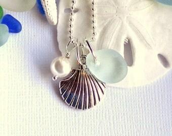 Seafoam Sea Glass Jewelry Scallop Shell Necklace