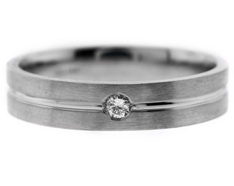 His & HersSolitaitre  Round Cut DIAMOND Wedding Band Solid 14K Gold Ring Satin Finish
