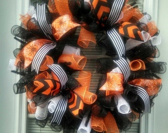 Halloween Wreath / Halloween / Chevron Wreath / Halloween Decorations / Deco Mesh Wreath / Wreath