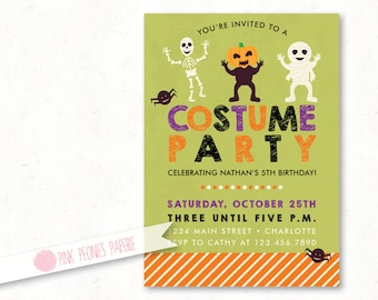 Halloween Party Invitation, Kids Costume Party Custom Printable Invite, Custom Halloween Birthday Party, Kids Invite, DIY or Printed Card