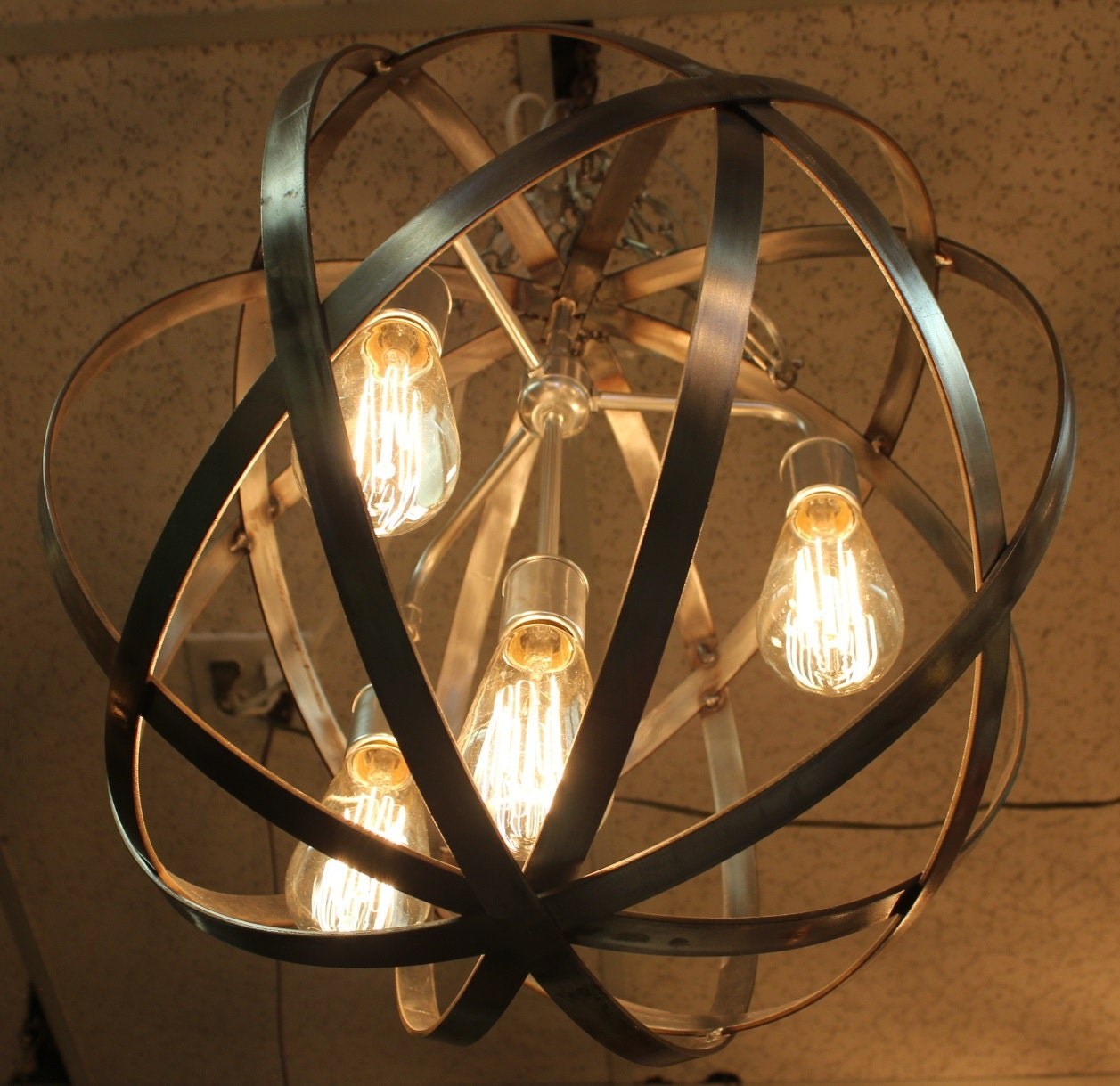 Orb Chandelier Industrial Sphere Stainless Steel Polished