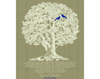 Gift for Grooms Parents, Wedding Thank You Gift, Mother of the Groom, Father of the Groom, Wedding Tree Print, Love Birds