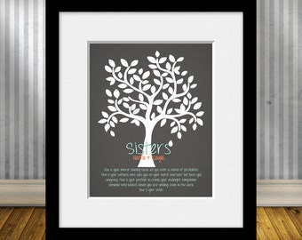 Sister's Gift Print, She is Your Mirror, Sister's Poem, Birthday Gift for Sister, Christmas Gift for Sister, Family Tree with Sister's Poem