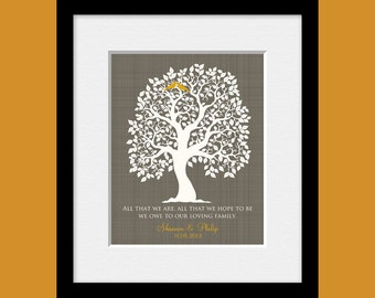 "Parent's Thank You Gift,  Parents Thank You Wedding Gift, ""All That We Are"" Quote, Personalized Parent's Gift, Wedding Tree Gift Print"