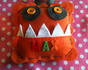 Personalized Monster Tooth Fairy Pillow.  Monster Tooth Pillow.  Boy's Tooth Fairy Pillow