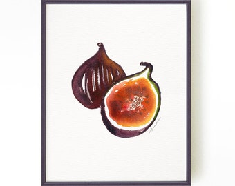 Fig print watercolor print Art for kitchen Fruit print Apartment decor Botanical print Kitchen art Wall art Fig#1 Buy 2 Get 1 Free