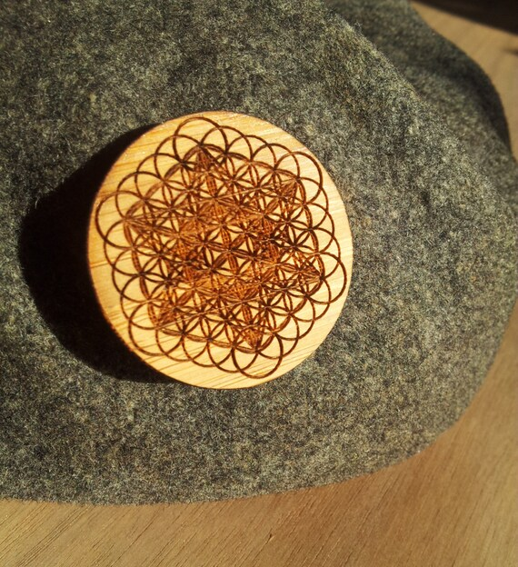 Metatron's Cube & Flower of Life Laser Engraved Sustainable Bamboo Hat Pin