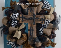 Made to Order - Wreath RUSTIC WOOD CROSS black burlap brown white chevron All Year