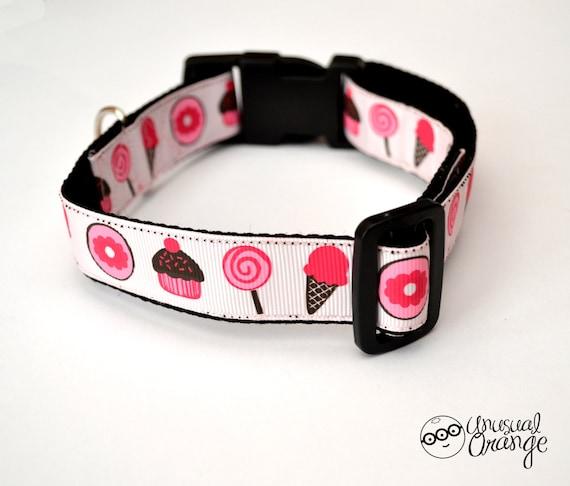 MEDIUM Strawberry Desserts Handmade Adjustable Dog Collar (size 32cm to 49cm)