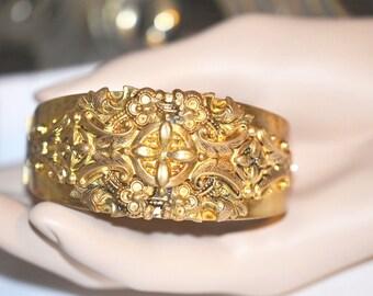 Vintage Victorian Revival Hinged Repousse Brass Cuff Bracelet