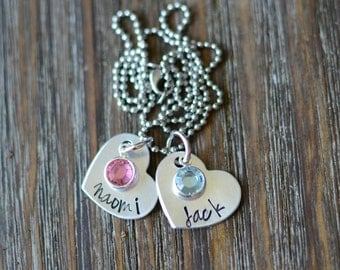 Hand Stamped Jewelry-Personalized necklace-Birthstone Necklace-Personalized Hand Stamped Heart Mother's Necklace w/ birthstone charms