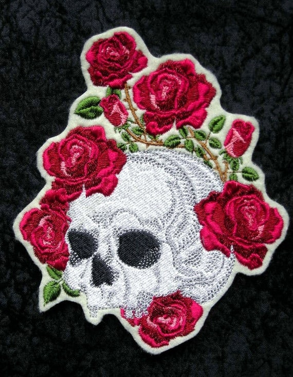 Sugar Skull Iron On Patch Roses Large 5 X 6